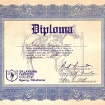 Carl Stephens III diploma from Oklahoma Farrier's College